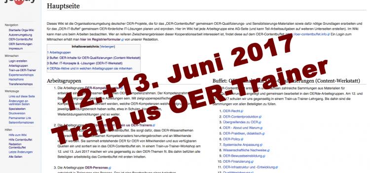 Die Vorbereitung des Train-us-OER-Trainer am 12.+13.6. unterstützt nun ein Orga-Wiki