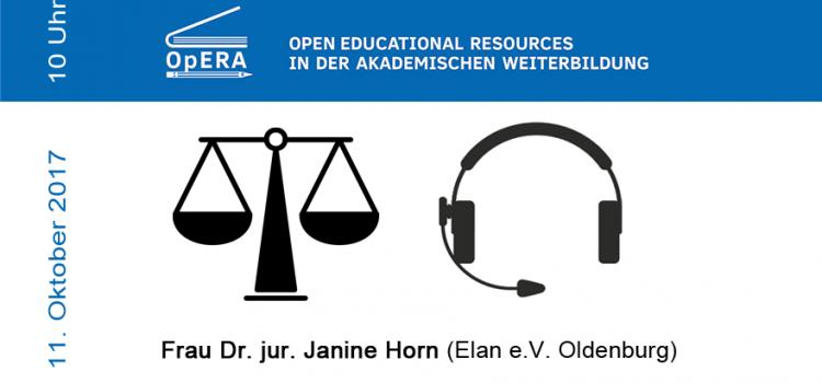 11. Okt. 10 Uhr Webinar: Rechtliche Aspekte bei Verwendung u. Erstellung von OER