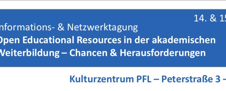 """Veranstaltungshinweis: Tagung """"OER in der wissenschaftlichen Weiterbildung an Hochschulen"""" (Projekt OpERA)"""