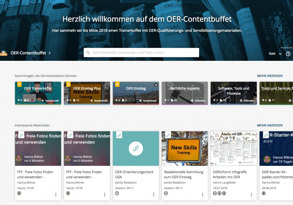 Startseite des www.oer-contentbuffet.info