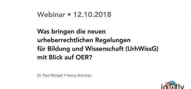 """Rückblick auf unser Webinar """"OER und Rechtsfragen III"""""""