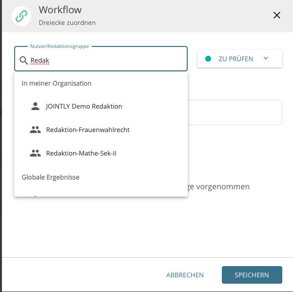 Darstellung eines Redaktionsworkflows in der kollaborativen Arbeitsumgebung